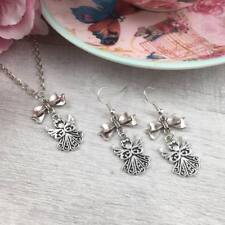 Silver Guardian ANGEL Necklace and Earrings SET Spiritual JEWELLERY Gift Dangle