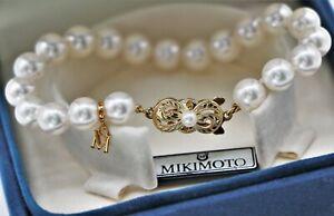 $3,010 Mikimoto White Pearl Strand 18k Yellow Gold Clasp 8-7.5mm A1 Bracelet M