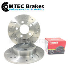 Fiat 500 1.4 Abarth 09-16 Drilled Grooved Rear Brake Discs & Mintex Pads 240mm