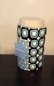 "Haverty's Interlude Home Black/Aqua Blue Geometric Hinson Tea Jar 10"" Tall"