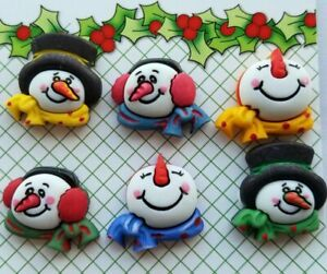 SNOWMEN MEDLEY 3D Buttons Galore Christmas Happy Snowman Snow Scarf Winter Hat