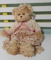 SETTLER TEDDY BEAR CHERYL 40CM WITH TAGS DRESS AND CARDIGAN