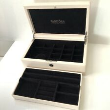 Pandora Leather Two Tier Cream Medium Size Jewellery Box