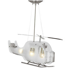 Searchlight 639 Novelty Satin Silver Helicopter Pendant Light Frosted Glass