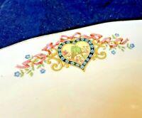 "Antique Pink Blue Porcelain Platter 12"" Oval Hand Painted Floral Heart Victorian"