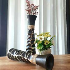2 x Vase Mango Wood Handmade Carved Home Flower Modern Decor 12 Inch Decorative