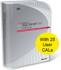 SQL Server 2008 R2 Enterprise, 64 & 32 Bit with 25 CALs. New and Shrink Wrapped.