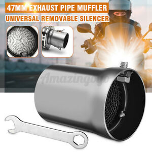 47MM Universal Motorcycle Exhaust Pipe Kit Can Silencer Muffler Baffle Removable