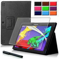 "9H Hartglas Folie+ Tasche f. Lenovo tab 2 A10-70 10.1"" Tablet Etui Smart Cover-2"