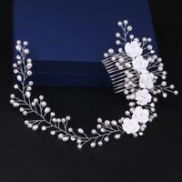 NEW Flower Pearl Crystal Hair Comb Bridal Wedding Headband Accessories Headpiece