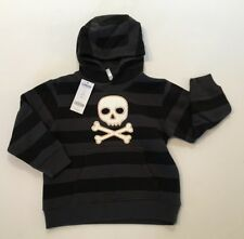 NWT Gymboree Pirate Adventure 3 3T Skull Crossbones Stripe Hoodie Sweatshirt