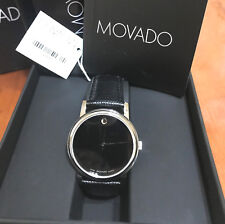 BOX SET MOVADO Museum 2100002 Classic Black Leather Analog Quartz Men's Watch
