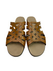 Munro Womens Brown Leather Open Toe Casual Slip On Sandals Size 10 N