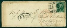 """1861, 10¢ (#35) tied on small cover to """"MATANZAS, CUBA"""" by """"New York Ocean Mail"""""""