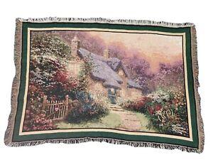 "Thomas Kinkade Throw Blanket Cottage Tapestry Heart Fringe 43"" X 64"""