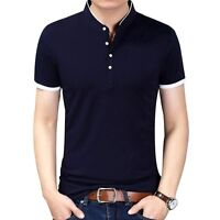 2018 Men T-shirt Solid Color Slim Fit Casual Short Sleeve Mandarin Collar