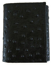 New Ostrich Print Mens Trifold Leather Wallet Pocket Card Slot Window ID Black