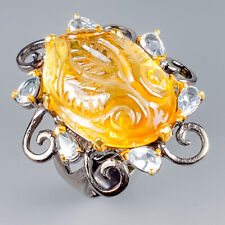 Handmade27ct+ Natural Citrine Quartz 925 Sterling Silver Ring Size 8.5/R117432