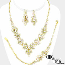 "BRILLIANT CRYSTAL ""3 PC"" PROM WEDDING FORMAL NECKLACE JEWELRY SET CHIC & TRENDY"
