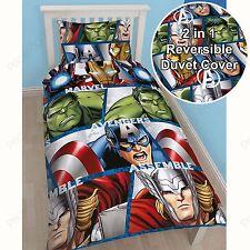 MARVEL Avengers SCUDO Set Copripiumino singolo double face Thor Iron Man Hulk Nuovo