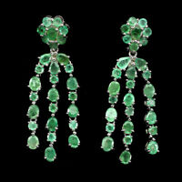 Unheated Oval Green Emerald 5x4mm Natural 925 Sterling Silver Earrings
