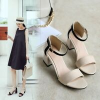 Summer New Women's Sandals Block Chunky Mid Heel Ankle Strap Open Toe Shoes