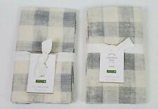 Pottery Barn Rhett Check Standard Sham Cotton Linen Blend Gray Ivory Set/2 NEW