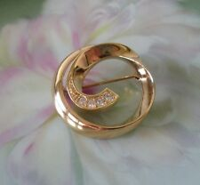 Avon Gold Plated Brooch Mint Orig Box Avon Crystal Swirl Pin Classic Circle 1990