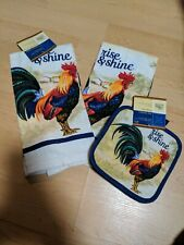 Kitchen Towels Pad 4Pc. Cream Rooster Country NWT