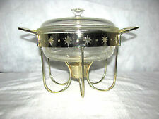 Fire King Round Divided Casserole, Lid and Gold Warming Stand w/ Star Cut-Outs