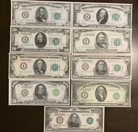 Reproduction Set 1928 Federal Reserve Notes $5 to $10,000  COMPLETE SET 9 NOTES
