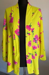 WAREHOUSE Ladies Size S / M Kimono Kaftan Cardigan Yellow Pink Floral Beach Wear