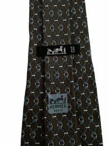 "Hermes Men's Gray/Blue Interlocking Ropes & Chains Silk Tie France 662 OA 4 1/4"""
