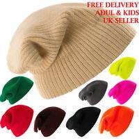 Kniteted Beanie Hat Winter Warm Wooly Unisex Mens Ladies Ski Skull Cap Kids 1