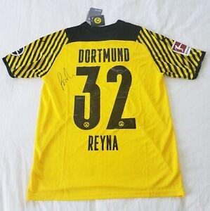 2021 Giovanni Reyna Signed Borussia Dortmund Soccer Jersey HOME *PROOF USA GOLD
