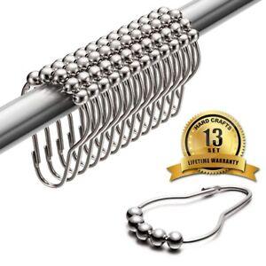 Shower Curtain Hooks 100% rustproof Stainless Steel, 13 Rings
