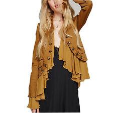 Womens Motorcycle Biker Crop Peplum Frill Blazer Jacket Retro Long Sleeve Coat M
