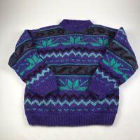 Ecuador Tribal Native Womens Pullover Sweater Purple Fair Isle 100% Wool Plus 2X