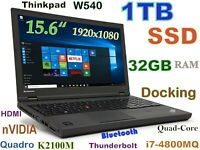 # 3D Design Thinkpad W540 i7-QUAD 1TB SSD 32GB 15.6 FHD Quadro K2100 + Dock