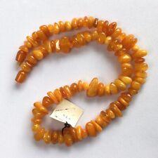 Natural Baltic Amber Vintage Necklace Egg Yolk Butterscotch Amber Beads  39.6 gr