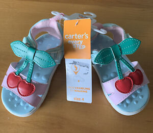Carter's Everystep Toddler Girl Sandals Jade/Pink Cherry Accent Sz 4 NWT (MCL)