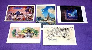 5 BEAUTIFUL ART OF WALT DISNEY IMAGINEERING NOTECARDS - DISNEYLAND, WDW, EPCOT