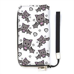 Cute Bat Print Ladies Wallet Purse Personalised Wrist Strap Money Kawaii