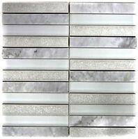 Naturstein Marmor Mosaikstäbchen grau Fliesenspiegel Bad WB40-ICE15|1Matte