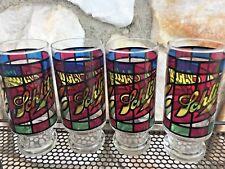 Vintage Mid Century Set Of 4 Schlitz Beer Stain Glass Bar Glass