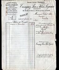 """LILLE (59) ARTICLES D'AMEUBLEMENT / LAINE TOILE TAPIS """"TRONQUEZ & LEGRAIN"""" 1913"""
