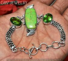 """Green Copper Turquoise Bracelet 925 Silver Overlay Size 7""""- 8"""" U267-A129"""