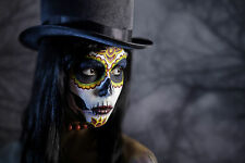 BEAUTIFUL MEXICAN SUGAR SKULL CANVAS PICTURE #48 STUNNING GOTHIC MAKE UP CANVAS