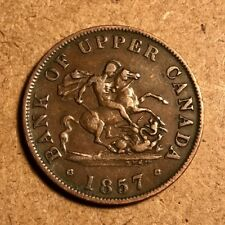 1857 Halfpenny Token - Province of Upper Canada Bank - Breton 720 - Very Fine