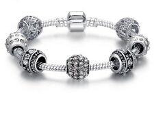 New Wedding Gift Charms Bracelet Bangle Silver Snake Chain Crystal Ball Rings UK